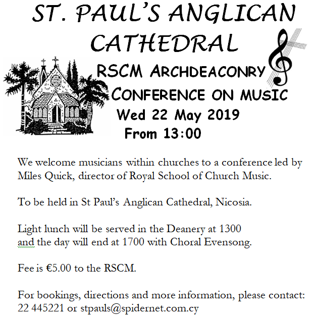 Royal School of Church Music. St Paul's Anglican Cathedral Nicosia